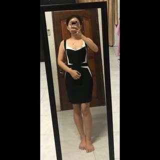Bandage white-black dress