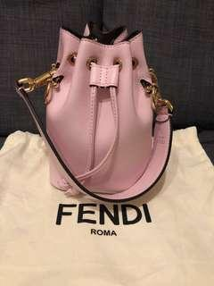 Fendi pink bucket bag mini with long strap mon tresor