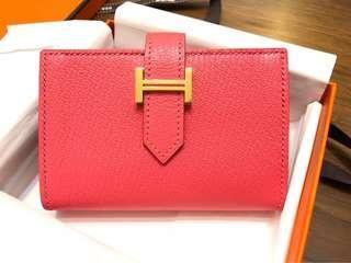 Hermes Bearn Wallet/ cardholder pink