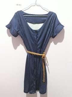 Polka dress - Navy Blue