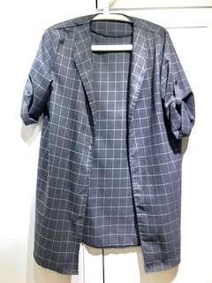 Grey checkered outerwear  #mcsfashion