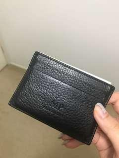 Black genuine leather cardholder