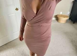 Pinky beige bodycon dress from Dynamite