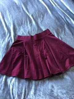 Burgundy flow skirt