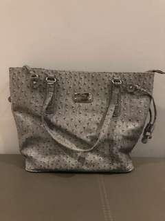 Korean fashion grey leather bag