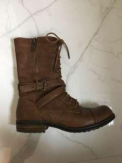 Size 8 Brown pleather biker boot