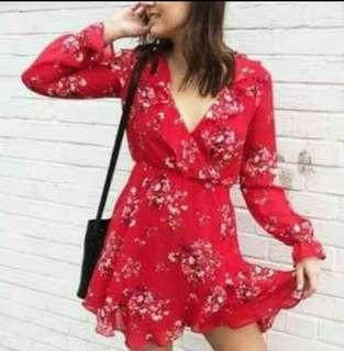 DIVIDED BY H&M Red Floral Dress
