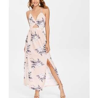 ZAFUL  Floral Twisted Cutout Backless Halter Dress