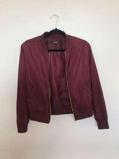 Miss Shop Maroon Bomber Jacket
