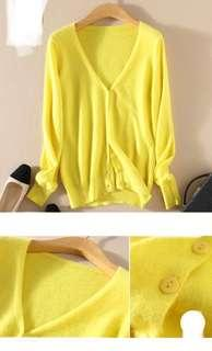 Bnip Yellow Cardigan Summer autumn spring