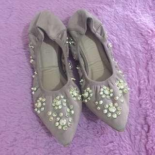 Studded Flat Ballet Shoes