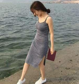 全新包郵 灰色針織吊帶裙