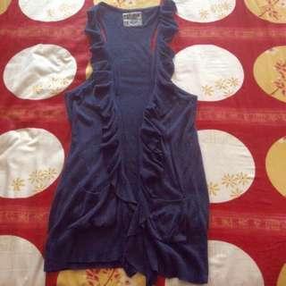 Preloved Bershka Navy Blue Knit Long Vest With Ruffles Trim