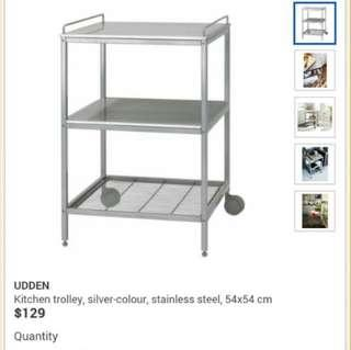 UDDEN Kitchen Trolley , silver-colour, stainless steel