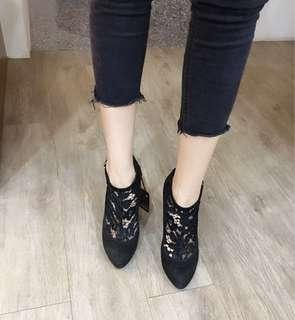 🚚 Dolce & Gabbana 蕾絲高跟踝靴 38號 九成八新 美品啊
