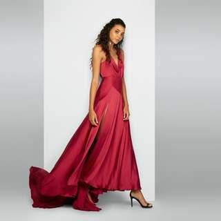 BNWT FAME & PARTNERS BURGUNDY ESCALA DRESS - SIZE 10
