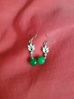 Crystal n faux jade earrings