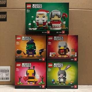 <DEREK> Lego BrickHeadz Seasonal 40270, 40271, 40272, 40273 and 40274