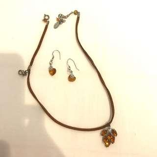 Muchas Brown Set Necklace and Earring