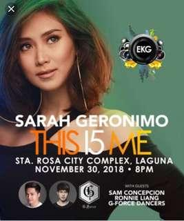 VVIP TIcket to Sarah G live in Laguna. November 30. This is me Concert