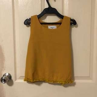 Mustard Top with fringe