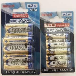 日本 麥克賽爾 MAXELL 10入卡裝 鹼性 3號 4號電池 原廠公司貨 ALKALINE 電池 一次性電池