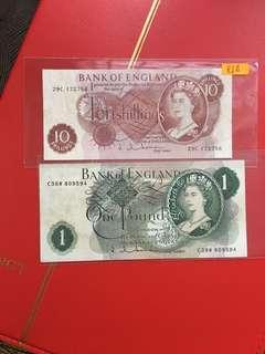 Pair of old UK banknotes