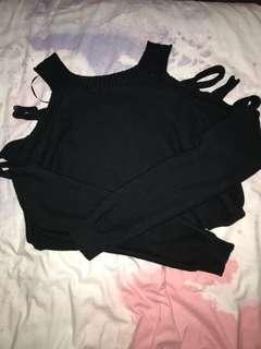 Black knit with shoulder cuts
