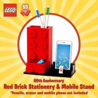 Lego Brick 60th Anniversary Red Brick Stationery and mobile stand - fully assembled 100% complete