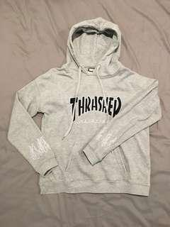 Thrasher 正品-灰刺繡連帽T