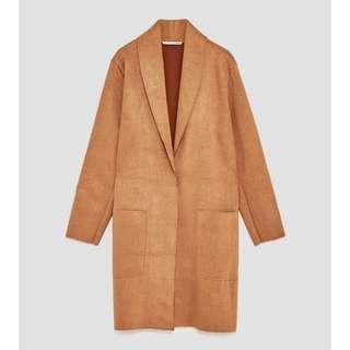 Zara Faux Suede Coat (Brown)