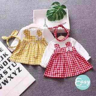Baby Toddlers Checkered Dress With Headband