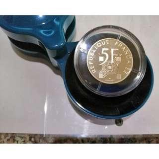 🚚 1989年法國5法郎艾菲爾鐵塔100周年紀念銀幣 鏡面精鑄PF 官方藝術轉盒 保真