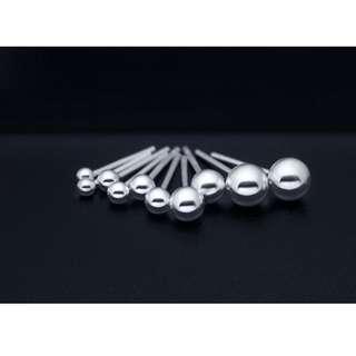 🚚 純銀 基本款 亮面小圓珠 百搭耳環 4mm 賣場