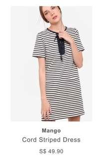 BNWOT Mango cord striped dress