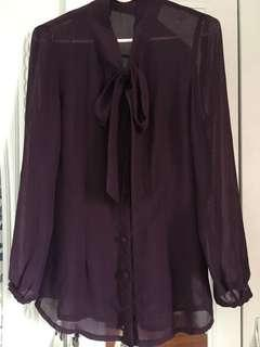 Dark Violet See-Through Polo with Lace