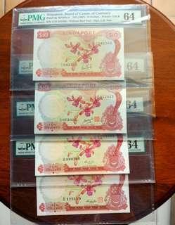 Sg Orchid $10 set PMG 64 Choice UNC
