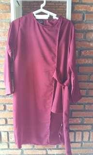 Blouse panjang tunik maroon