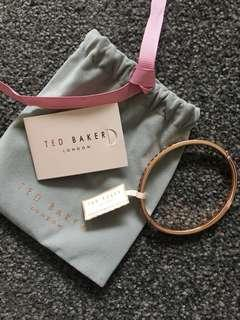 TED BAKER Rose gold/black rhinestone bangle bracelet