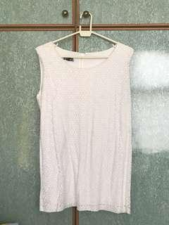 **FAST SALES** One-sided lace white sleeveless top (white)