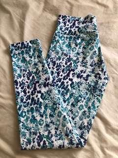 Authentic Dharma Bums yoga gym tights size s print blue navy white pattern workout pants