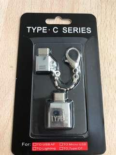 Micro Usb to Type C OTG adapter with Keychain & Usb to type C Adapter