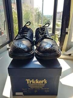 Tricker's Men Black Berby Brogue Country Shoes UK 8
