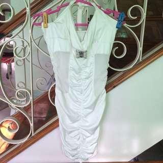 Preloved White Halter Bodyfit Minidress