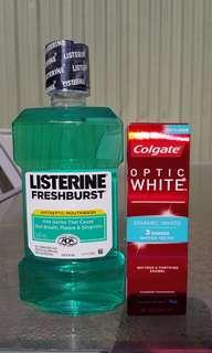 Listerine mouthwash 500ml & Colgate toothpaste