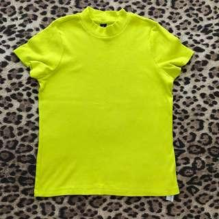 Fluoro Yellow Ribbed Tee (M)