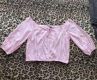 Baby Pink Gingham OTS (L)