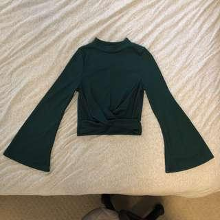 NASTYGAL Ribbed dark green long sleeve top