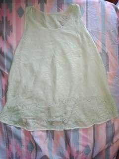 Mint green lace sleeveless tops
