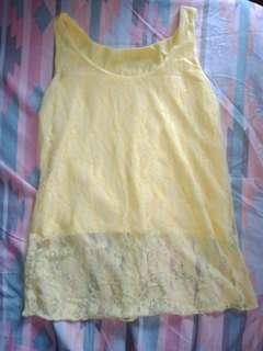 Yellow lace sleeveless tops